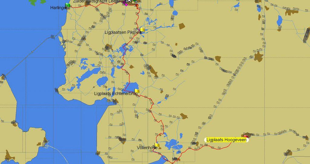 Von Hoogeveen nach Harlingen (Karte PC Navigo©)