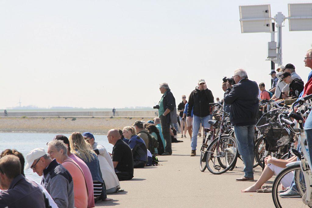 Auf der Hafenmole warten die Zuschauer auf den Start, ...