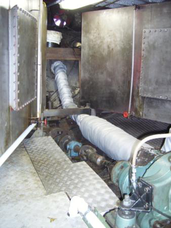 Exhaust and prop shaft